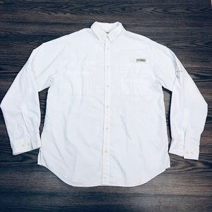 Columbia PFG Solid White Omni-Shade Shirt M